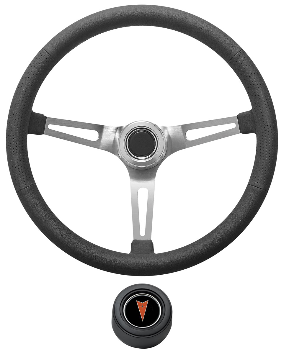 Photo of GTO Steering Wheel Kit, Retro Wheel With Slots Hi-Rise Cap - Black with arrowhead center, early mount