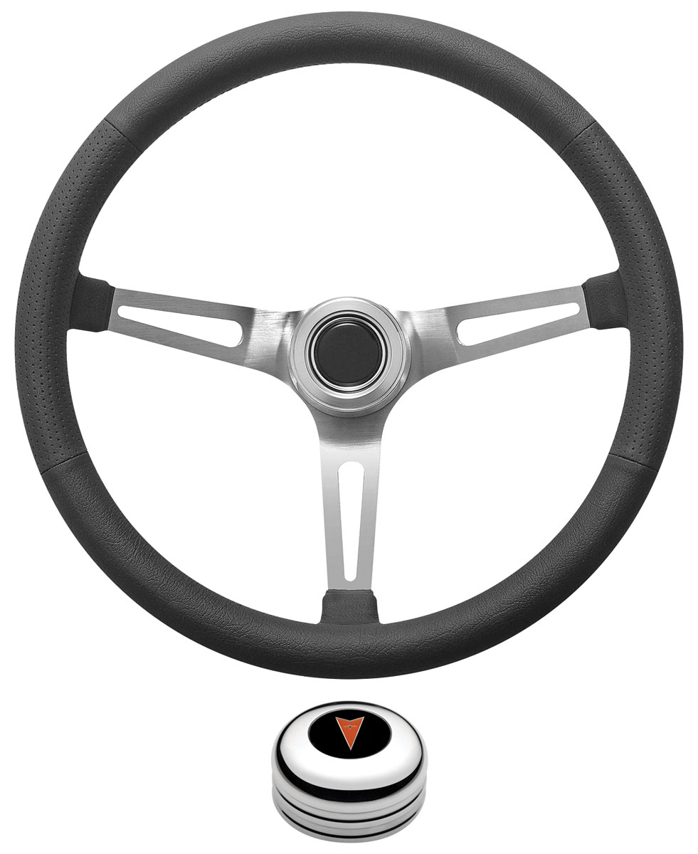 Photo of Steering Wheel Kit, Retro Wheel With Slots Tall Cap - Polished with arrowhead center, late mount