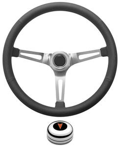 1969-77 Bonneville Steering Wheel Kit, Retro Wheel With Slots Tall Cap - Polished with Arrowhead Center, Late Mount