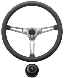 1969-77 Bonneville Steering Wheel Kit, Retro Wheel With Slots Tall Cap - Black with Arrowhead Center, Late Mount