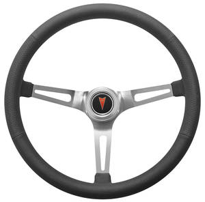 Bonneville Steering Wheel Kit, Retro Wheel With Slots Hi-Rise Cap - Polished with arrowhead center, late mount