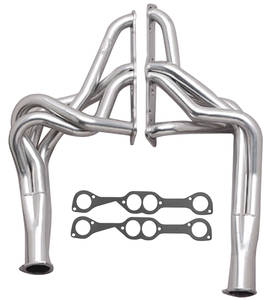 "1968-73 GTO Headers, Super Competition 400-455 Ho/Sd W/O Ac, Floorshift, Round Heads (2"" X 28"", 3-1/2"" Collector) Black"