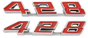 "1967-1967 Bonneville Rocker Panel Emblems, ""428"""