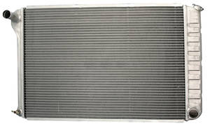 "1972-76 Bonneville Radiator, Aluminum Desert Cooler 18-1/4"" X 28-1/4"" X 2-5/8"", 3-1/2"" Mounts MT, Polished"