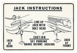 1960 Catalina Jacking Instruction Decal
