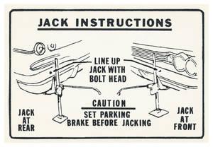 1962-1962 Grand Prix Jacking Instruction Decal