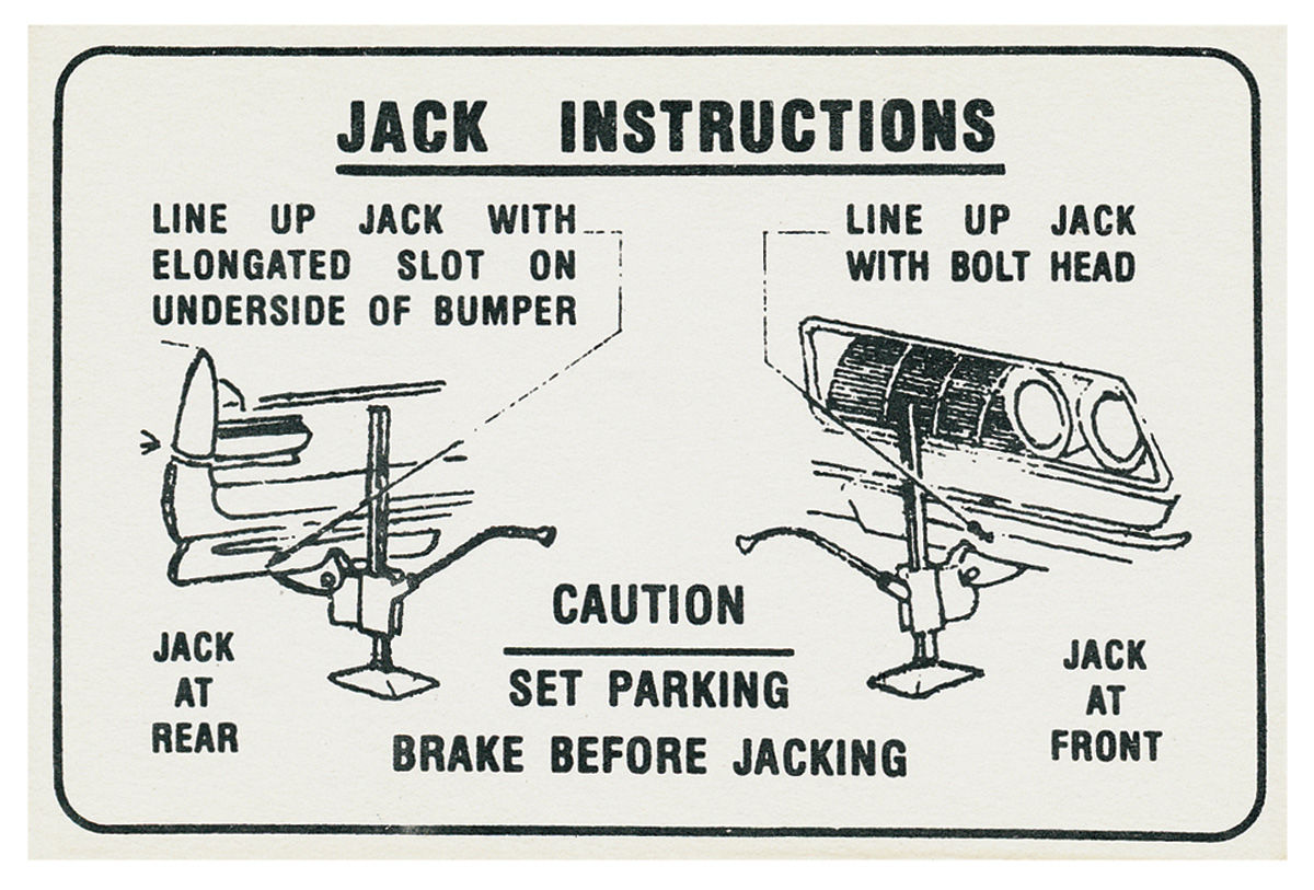 jacking instruction decal jack hook decal fits 1964