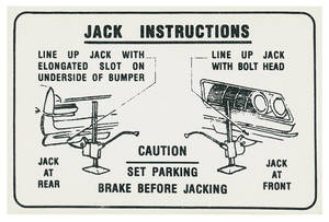 1964 Bonneville Jacking Instruction Decal Jack Hook Decal