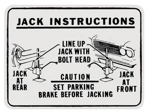 1962 Bonneville Jacking Instruction Decal