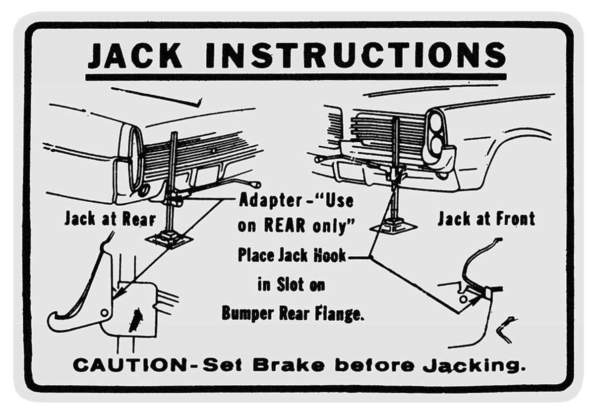1964 bonneville jacking instruction decal   opgi com
