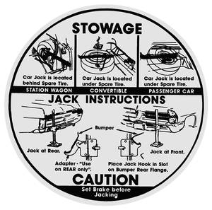 1965 Catalina Jacking Instruction Decal