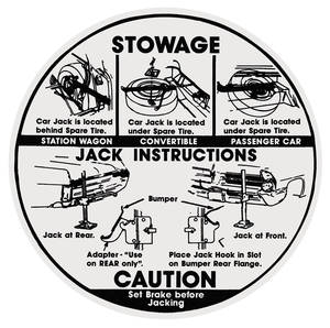 "1966 Bonneville Jacking Instruction Decal Early, 6-1/2"" Dia."