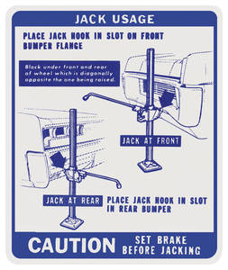 1967 Bonneville Jacking Instruction Decal