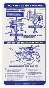 1968 Grand Prix Jacking Instruction Decal