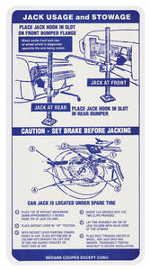 1968 Bonneville Jacking Instruction Decal