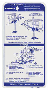 1971-1972 Catalina/Full Size Jacking Instruction Decal (#483621)