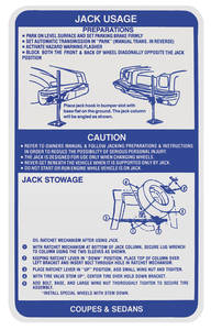 1973 Grand Prix Jacking Instruction Decal