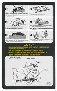 1976 Jacking Instruction Decal Grand Prix, w/Spacer Saver (#500135, REV1)