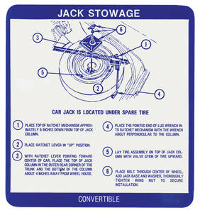 1967-1967 Grand Prix Jack Stowage Decal Convertible