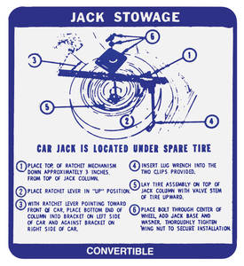 1968-1968 Catalina Jack Stowage Decal Convertible, Bonneville/Catalina