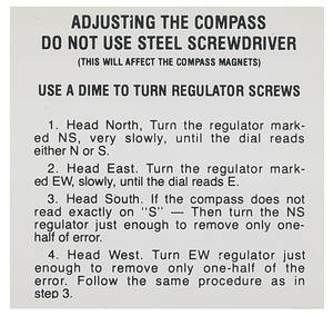 1959-62 Catalina Compass Instruction Decal