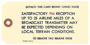 1966-68 Cadillac Radio Antenna Tag, AM/FM