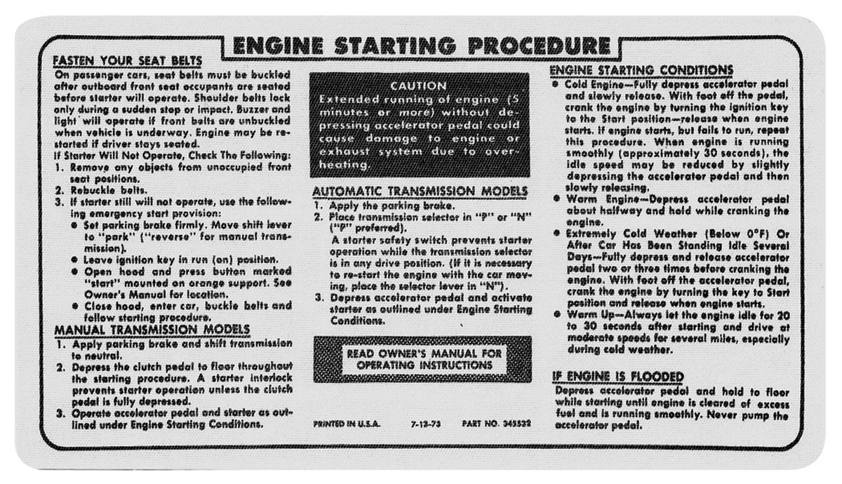 Photo of Ignition Instructions Decal start instr., # 345532