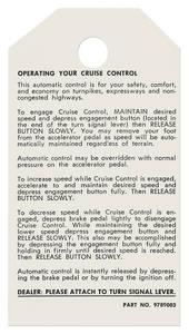 1975-1977 Catalina/Full Size Cruise Control Instruction Tag