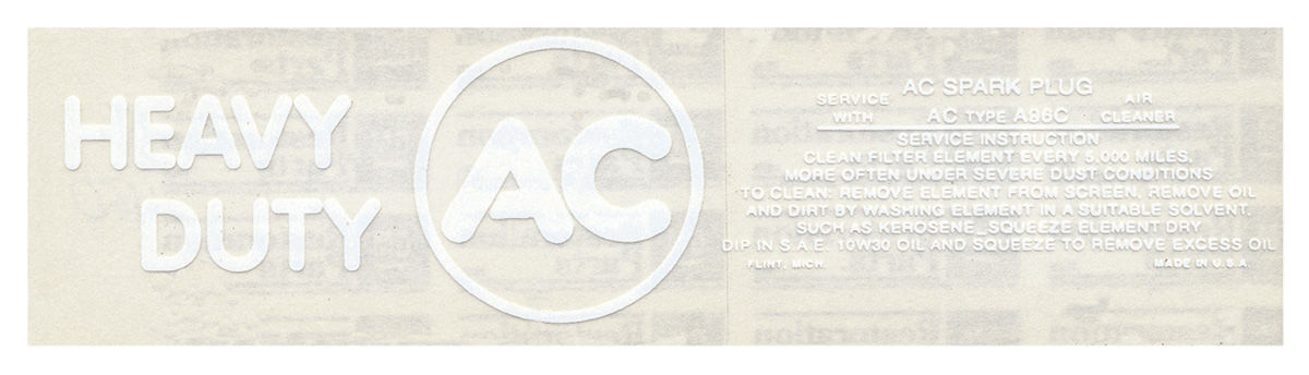 Photo of Air Cleaner Service Instruction Decal w/A96C (white)