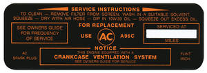 1963-64 Catalina Air Cleaner Service Instruction Decal w/A96C (Black/Orange)