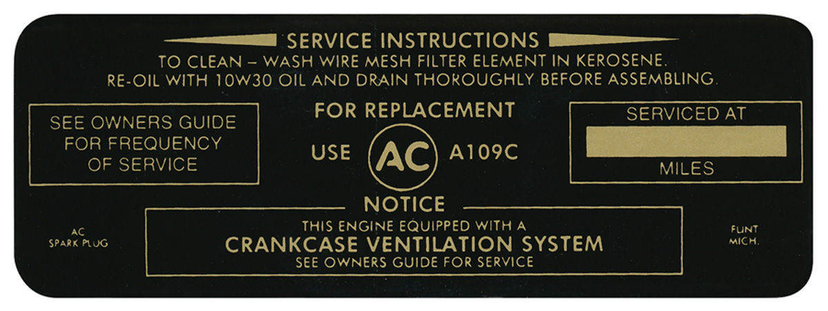 Photo of Air Cleaner Service Instruction Decal w/A109C