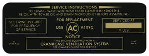 1967 Air Cleaner Service Instruction Decal GTO, 400 2-Bbl, w/A277C (White, #6424574)