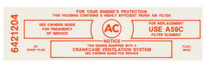 1965 Air Cleaner Service Instruction Decal Bonneville/Catalina, Tri-Power 389-421 Police CA w/A59C (Red, #6421204)