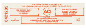 1965 LeMans Air Cleaner Service Instruction Decal Tri-Power 389-421 Police California w/A59C (Red, #6421205)