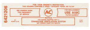 1965 Catalina Air Cleaner Service Instruction Decal 3x2 421 w/A59C (Red, #6421206)