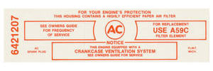 1965 GTO Air Cleaner Service Instruction Decal 3x2 421 California w/A59C (Red, #6421207)