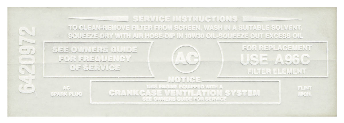Photo of Bonneville Air Cleaner Service Instruction Decal 389-428 w/A96C (white, #6420972)