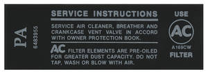 1968 Tempest Air Cleaner Service Instruction Decal 250 (PA #6483955)