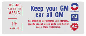 "1971 Tempest Air Cleaner Decal, ""Keep Your GM Car All GM"" 350-2V (PF, #6486106)"