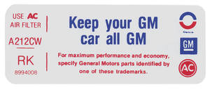 "1975 Bonneville Air Cleaner Decal, ""Keep Your GM Car All GM"" 455 (RK, #8994008)"