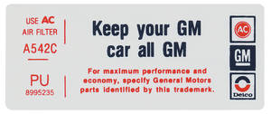 "1976 Bonneville Air Cleaner Decal, ""Keep Your GM Car All GM"" 400 (PU, #8995235)"