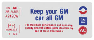 "1976 Grand Prix Air Cleaner Decal, ""Keep Your GM Car All GM"" 4-V (PR, #8995232)"