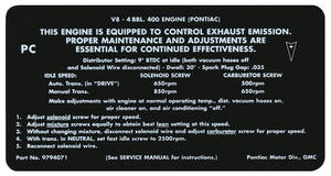 1968 LeMans Emissions Decal 400-4V (PC, #9794071)