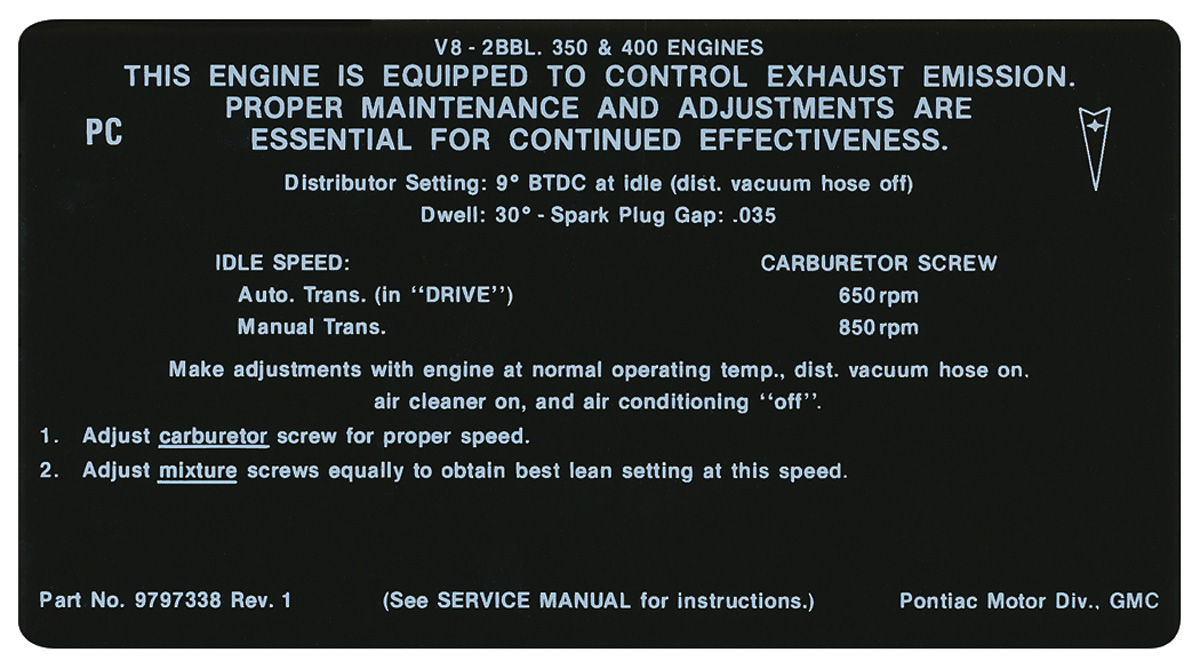 Photo of Emissions Decal 350/400-2V AT/MT (PC, #9797338)