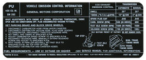 1972 Catalina Emissions Decal 400-2V AT/MT (PU, #490617)