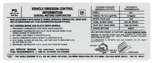 1971-1971 Tempest Emissions Decal 400 AT US/California (PG, #490151)