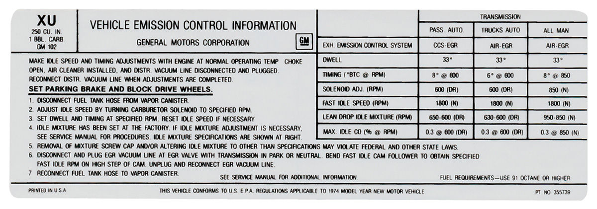 Photo of Emissions Decal 250-1V AT/MT (XU, #355739)