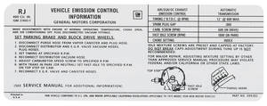 1975 Bonneville Emissions Decal 400-4V AT (RJ, #499383)