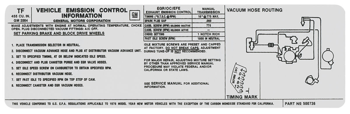 Photo of Emissions Decal 455 MT (TF, #500736)