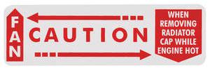 "1962-1963 Bonneville Radiator Decal, ""Caution - Fan"" Bonneville/Catalina (Horizontal)"